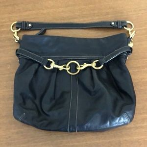 Coach Black Leather Hamptons Pleated belted purse